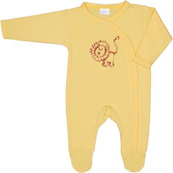 Unisex - Salopeta cu maneca lunga si pantaloni cu botosei de culoare galbena cu imprimeu leu