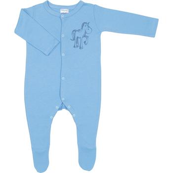 2. Pentru baietei - Salopeta cu maneca lunga si pantaloni cu botosei de culoare azur cu imprimeu calut