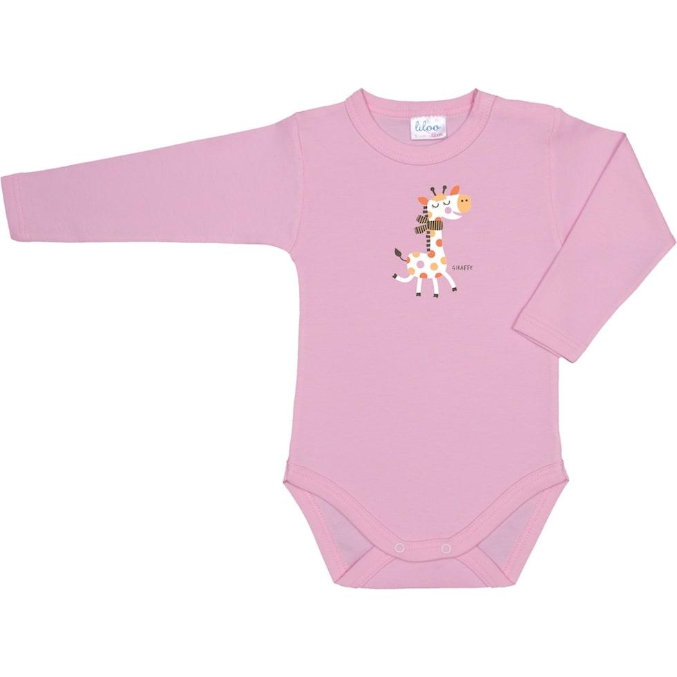 Body roz cu girafa colorata pentru fetite mofturoase