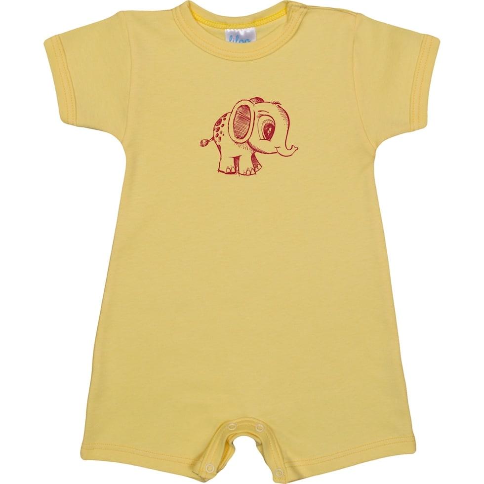 Salopeta pantaloni scurti si maneca scurta galbena cu elefantel